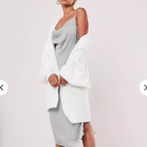 Missguided fluffy white batwing loose cardigan